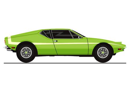 Vector sticker of vintage sports car. Side view. Flat vector illustration.