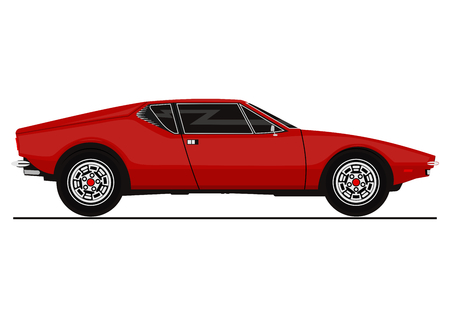 Vector sticker of vintage sports car. Side view. Flat vector illustration.