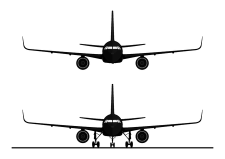Silhouette of a modern jet airliner. Front view. Flat vector for infographic.