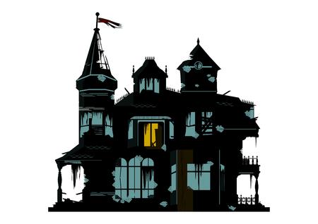 Een silhouet van een griezelig huis op een witte achtergrond. Platte vector.