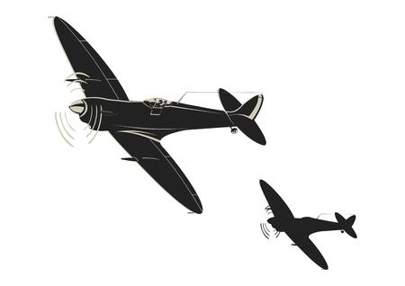 Uproszczona naklejka przedstawiająca myśliwce z czasów II wojny światowej. Płaski wektor.