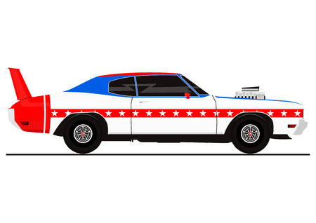 Sticker of muscle car in the color of the American flag. Side view. Flat vector. Ilustracja
