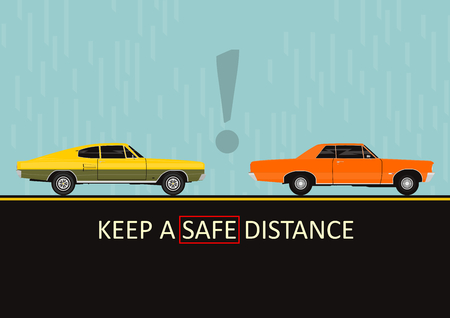 Keep a safe distance. Dangers on the road. Infographic with two cars. Flat vector. Vettoriali