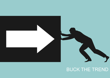 Buck the trend. Human silhouette pushing a box with an arrow. Flat vector. 向量圖像