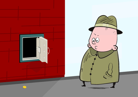 Fat man in a hat looking at a coin lying under the open safe. Flat vector.