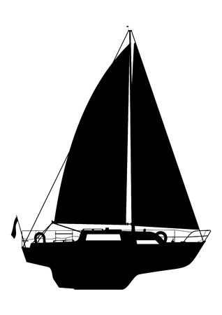 Side view of a sailing boat. Black silhouette of a yacht on a white background. Water sport. Cartoon flat vector. Illustration