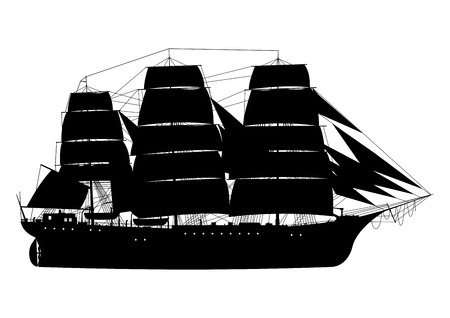Frigate. Sailing ship. Silhouette of fully rigged ship on a white background.Side view. Flat vector. Ilustração