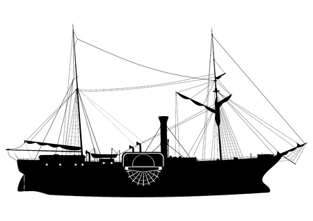 Steamship. Silhouette of a paddle steamer on a white background.Side view. Flat vector. Illustration