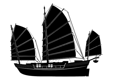 Junk boat. Silhouette of a Chinese vintage ship. Side view. Flat vector.