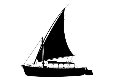 Traditionelles hölzernes Segelboot genannt Felucca. Ägyptische Bootsfahrt. Seitenansicht. Flacher Vektor.