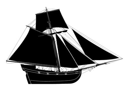 Sailing ship. Seventeenth-century bermuda sloop. Pirate ship.Side view. Flat vector.