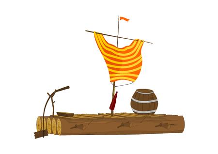 Radeau de dessin animé avec un tonneau et une voile en chemise. Radeau en bois. Vue de côté. Vecteur plat.
