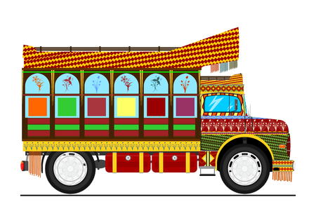 Jingle truck. Retro cartoon Indian decorated truck. Flat vector.
