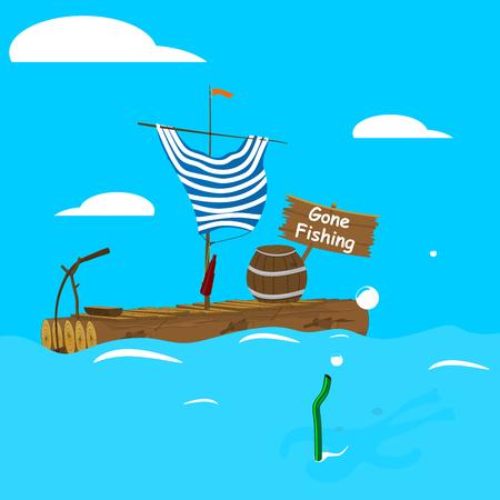 Andato a pescare. Una zattera vuota del fumetto con l'ombra di un uomo che fa snorkeling accanto. Vettore piatto. Vettoriali