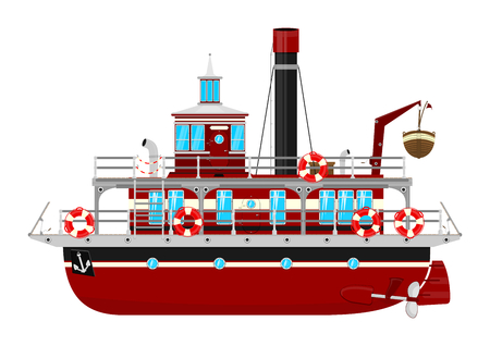 Ferryboat. Cartoon ferry boat on the white background. Fairytale ship. Side view. Flat vector.