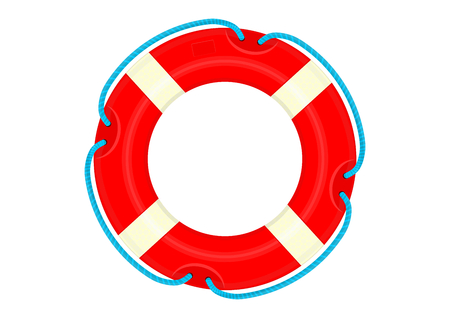 Lifebuoy. Cartoon lifebelt on a white background. Flat vector.