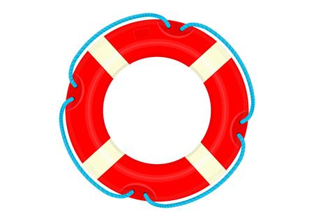 Bouée de sauvetage. Bouée de sauvetage de dessin animé sur fond blanc. Vecteur plat.