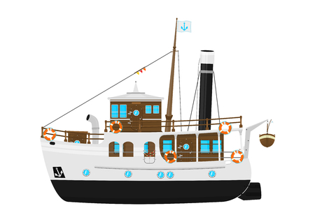 Ship. Cartoon vintage steam yacht with a chimney. Side view. Flat vector. Illustration
