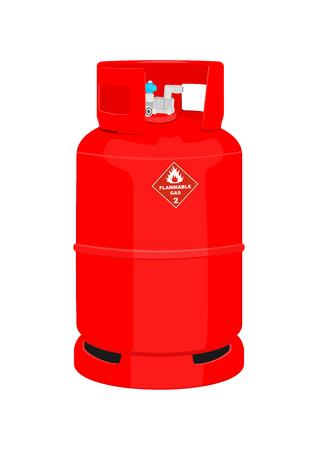 Red gas cylinder. Flammable propane bottled gas. Flat vector. Ilustração