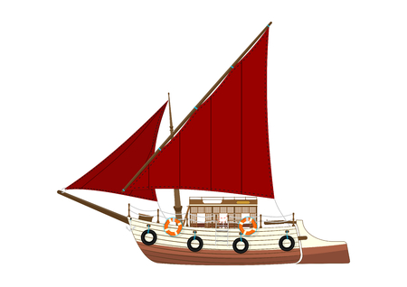 Cartoon felucca. Side view of a retro Egyptian sailing boat. Flat vector. Иллюстрация