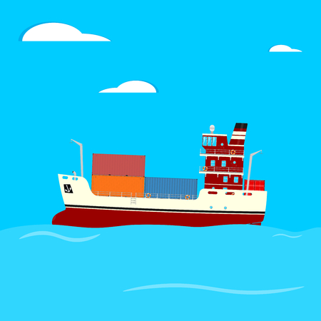 Cartoon container ship on a blue square background. Side view. Flat vector. Illustration