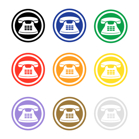 Set of colorful phone icons. Telephone sign round button. Flat vector. Illustration