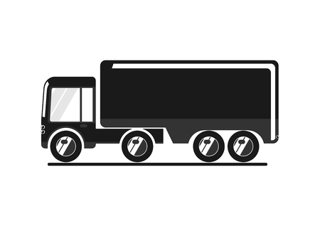 Truck icon. Simplified vehicle for infographics. Flat vector.