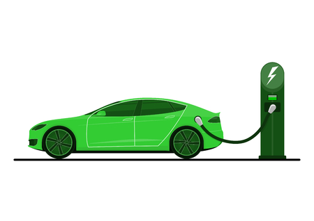 Green electric car on charging station. Electric car in use. Side view. Flat vector.