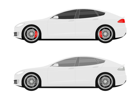 Set of two icons of modern cars. Side view. Flat vector.