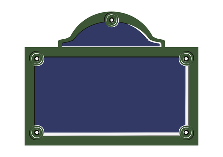 Paris street sign. Flat vector of blank French street plate.