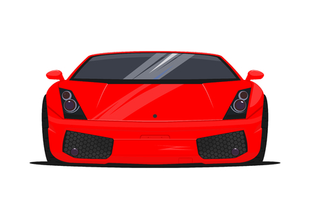 Sports car on a white background. Front view. Flat vector.