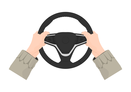 Driving safety. The right position of the hands on the steering wheel. 9 and 3 driving position. Flat vector.