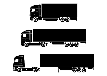 Truck icon. Silhouette of a modern truck on a white background. Flat vector. Stock Illustratie