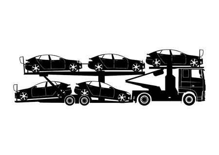 Transporte automático. Camión con remolque portacoches que lleva coches. Formas en dos colores fáciles de cambiar. Vector plano.