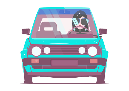 A girl in a car from the eighties in bright colors. Flat vector without gradients and layers.