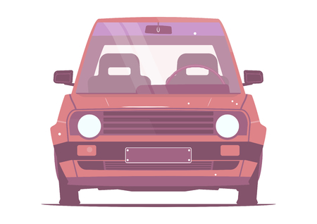 Retro car. Cartoon car from the eighties on a white background. Front view. Flat vector.