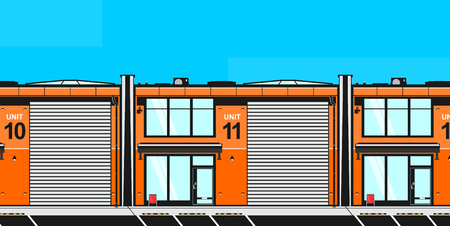 Industrial or business unit. Front view of a modern rental building. Flat vector. Ilustrace