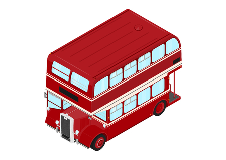 Cartoon double decker bus on a white background. Isometric view. Flat vector.