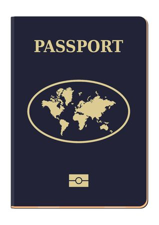 Passport. Cover of a modern biometric passport. Travel and tourism concept. Flat vector.