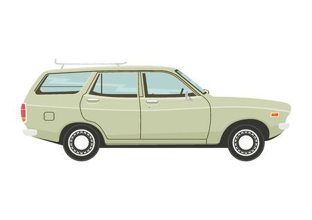 Retro estate car. Side view of vintage station wagon car. Flat vector.