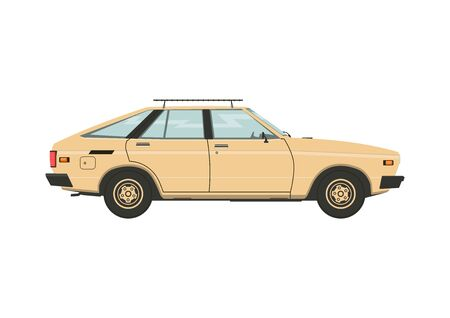 Classic car from the eighties. Side view of a vintage car. Flat vector.