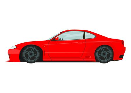 Sports car. Side view of modern drift car. Flat vector.