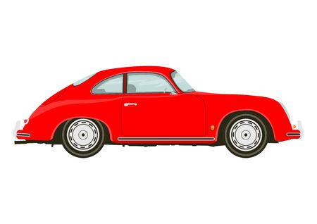 Vintage sports car. Side view of classic sports car. Flat vector. Ilustracja