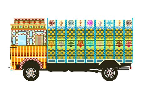 Jingle truck. Side view of Indian decorated truck. Flat vector. Vectores