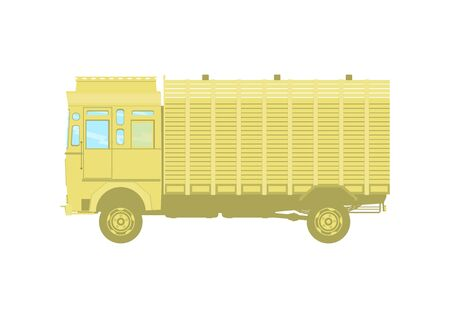 Vintage truck icon. Side view of Indian truck. Flat vector. Vectores