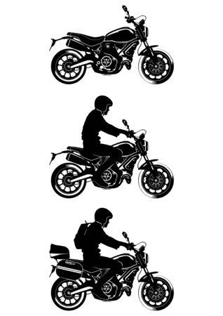 Motocicleta moderna. Siluetas de una motocicleta moderna. Vista lateral. Vector plano.