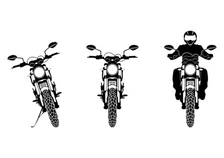 Modern motorcycle. Silhouettes of a modern motorcycle. Front view. Flat vector.