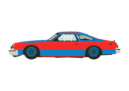 Racing car. Classic sports car from the seventies. Side view. Flat vector. Vecteurs