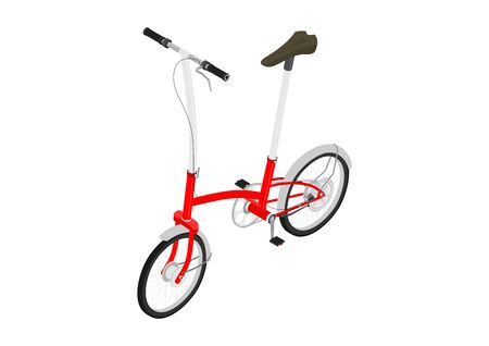 Modern bicycle. Small city bike on a white background. Isometric view. Flat vector.
