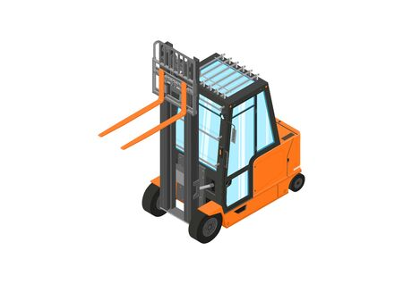 Forklift. Counterbalance forklift truck without load on a white background. Isometric view. Flat vector. Illustration